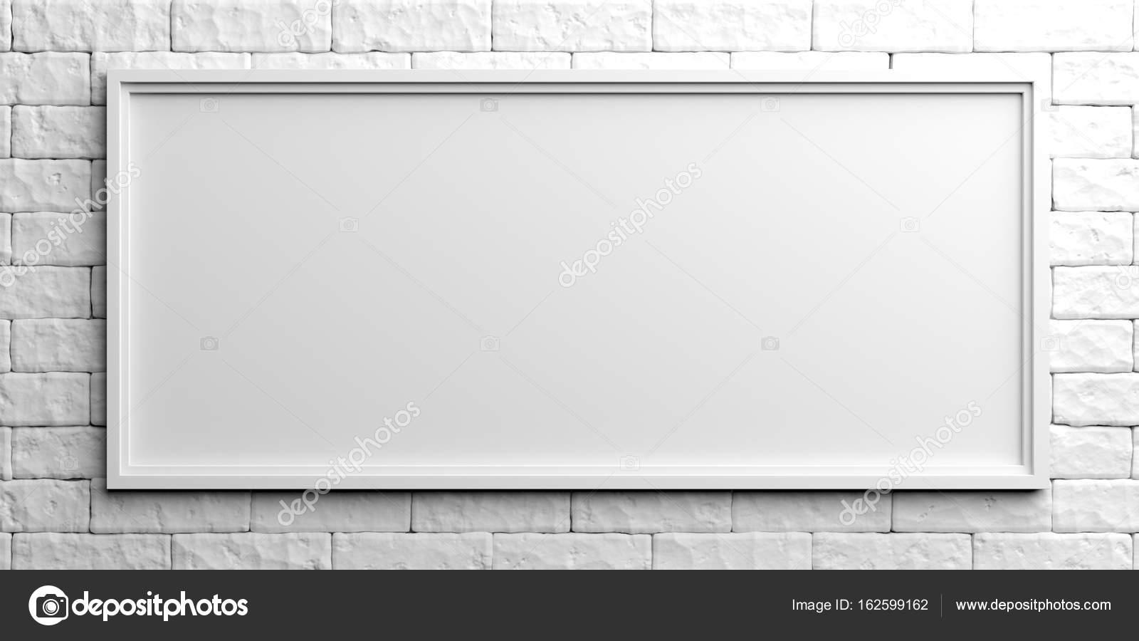 Marco blanco sobre fondo de ladrillo blanco. Ilustración 3D — Fotos ...
