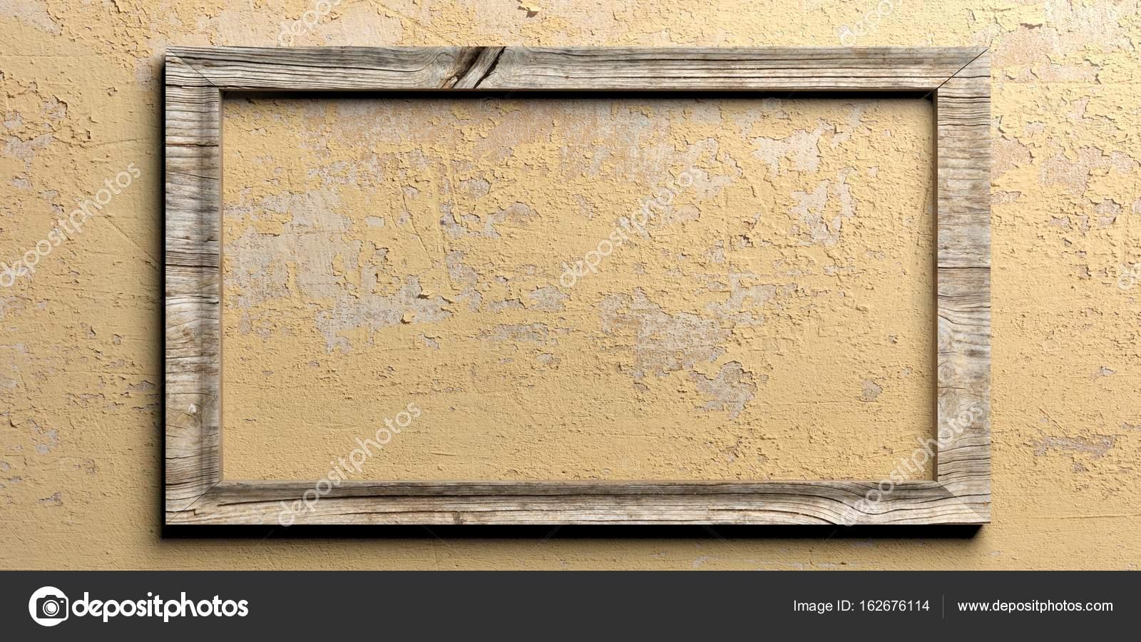 Holzrahmen auf gestrichenen Wand. 3D illustration — Stockfoto ...