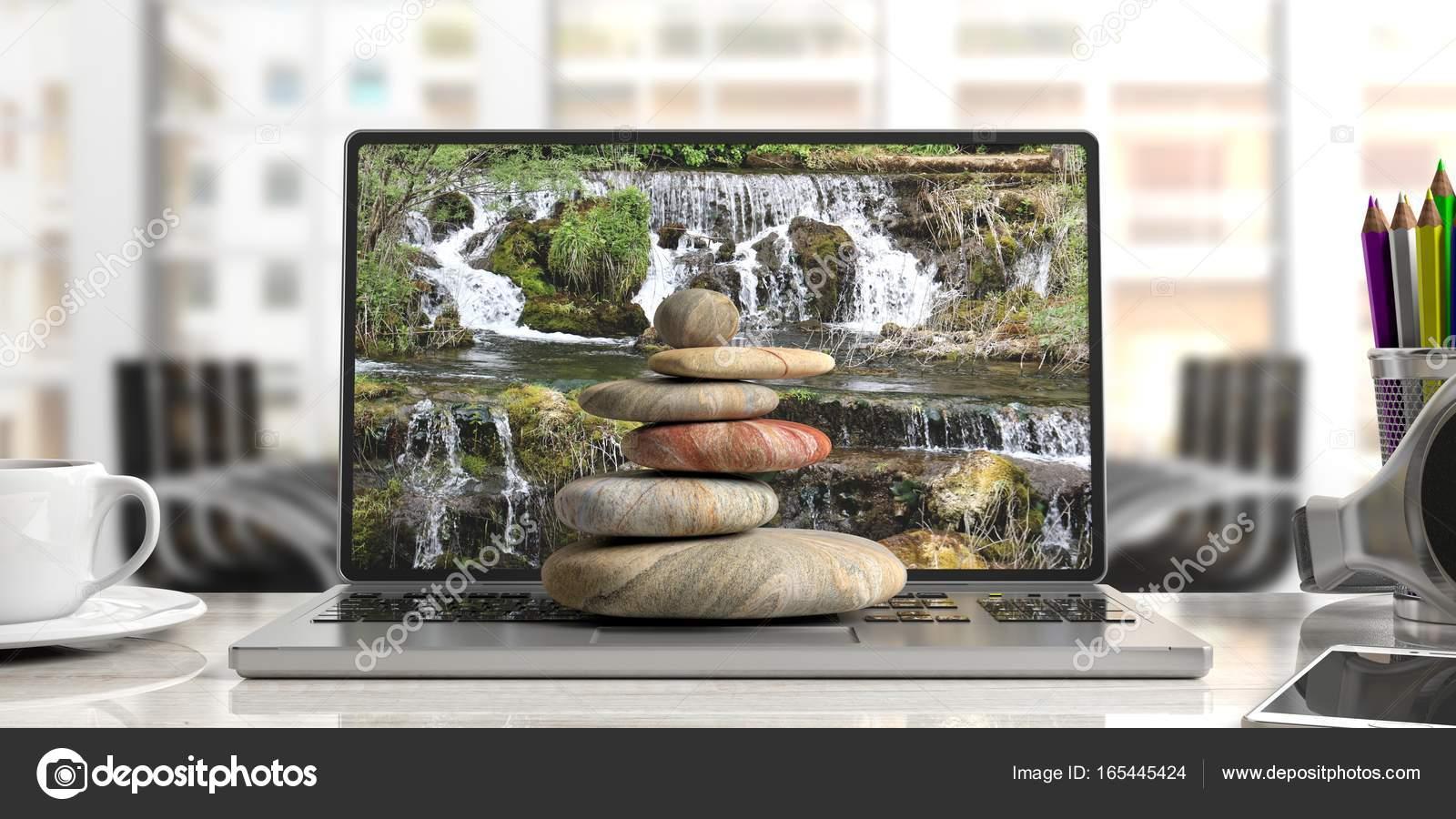 Ufficio Zen Zen : Pila di pietre zen in un computer sfondo ufficio illustrazione