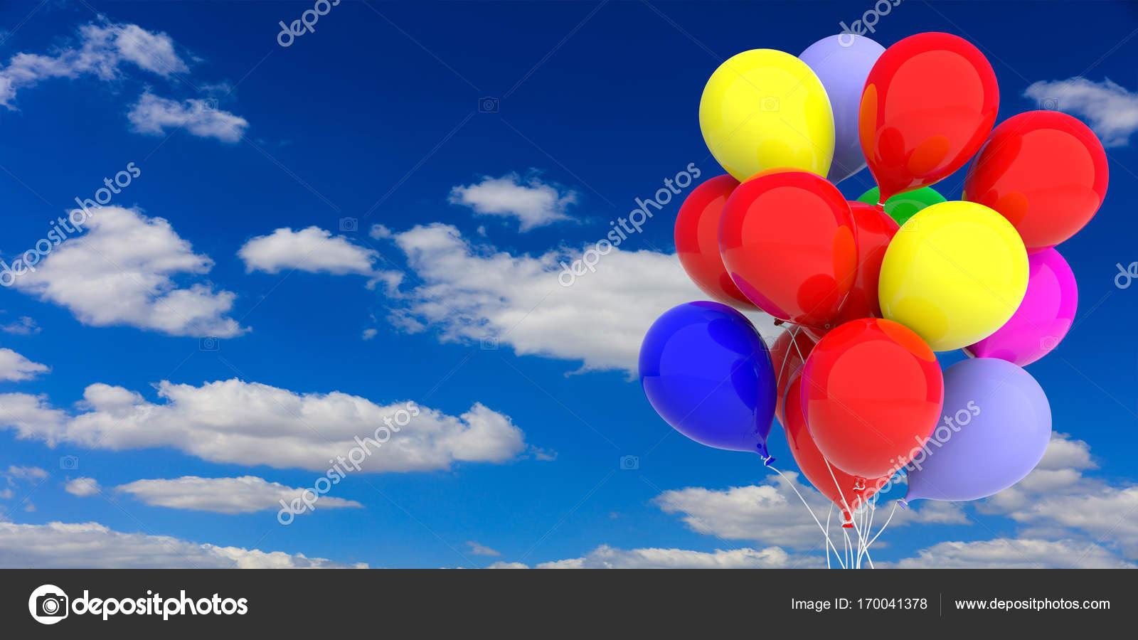 Palloncini colorati su sfondo blu cielo illustrazione 3d - Immagine con palloncini ...