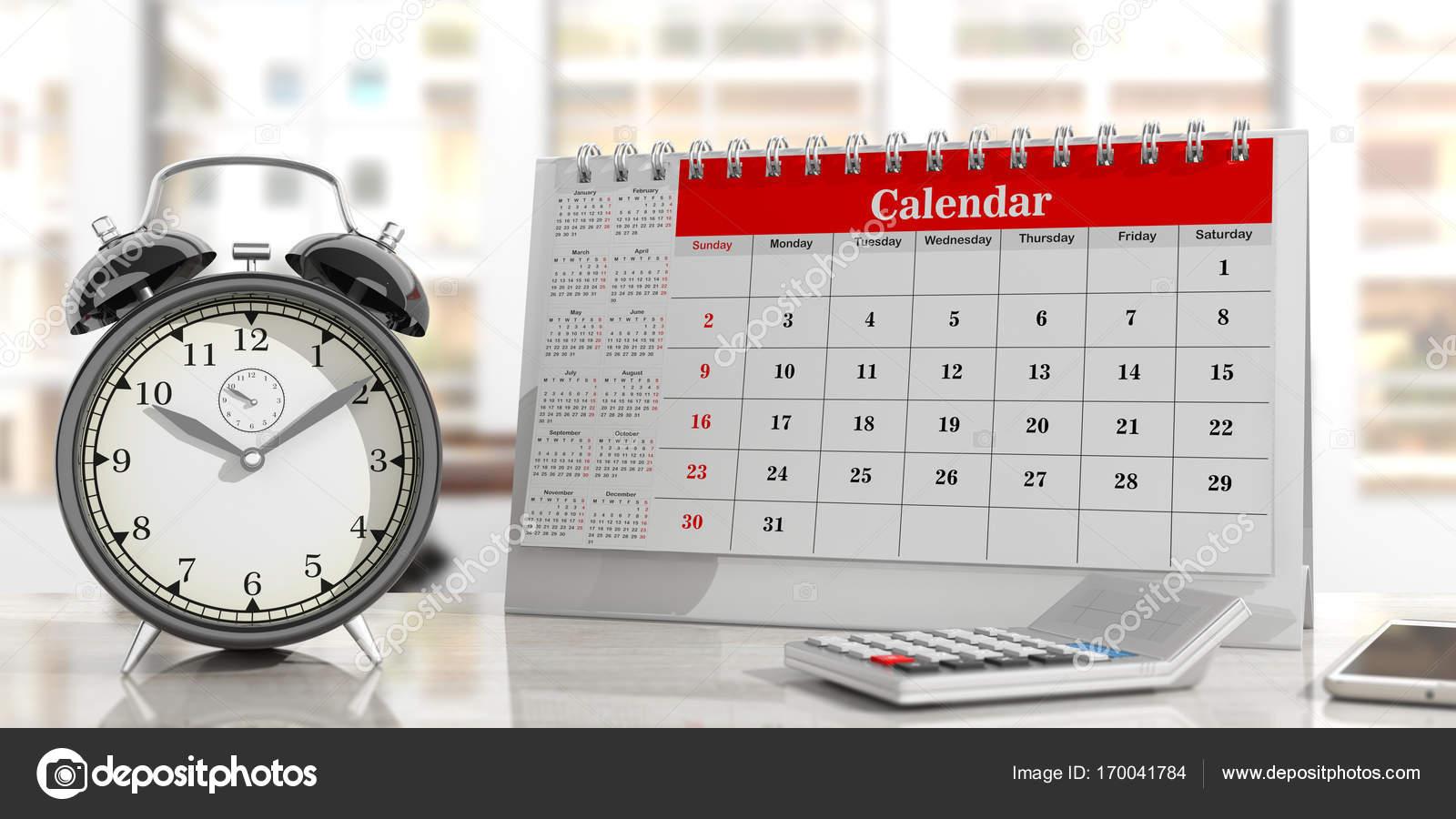 Calendar Clock Wallpaper : Time management concept. calendar and an alarm clock office