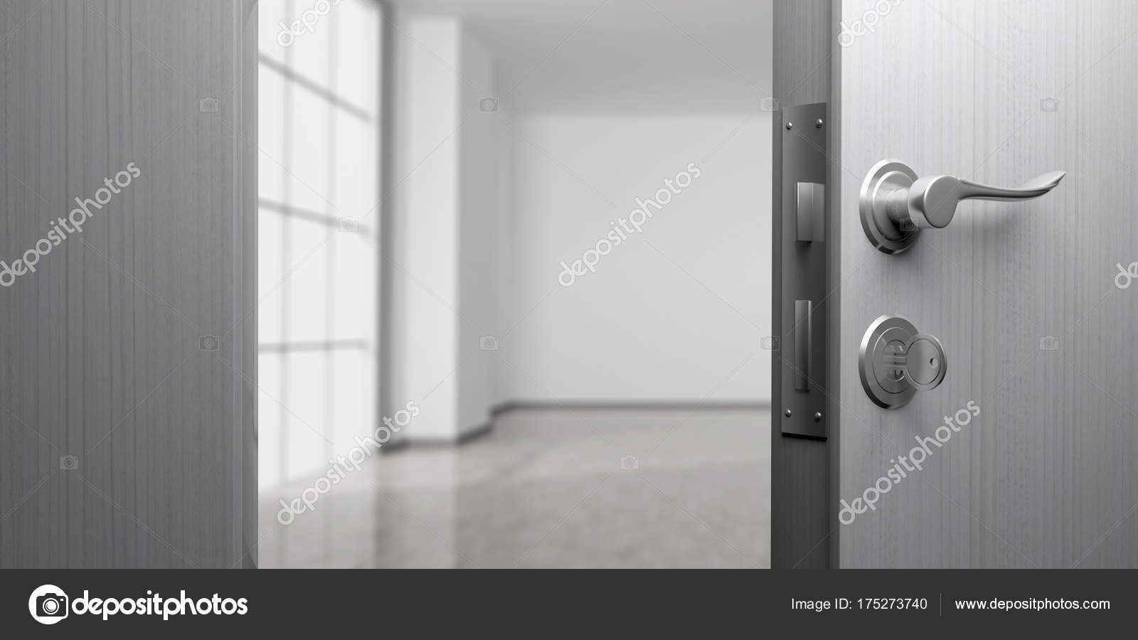 Office or apartment doorway with open door, blur empty room