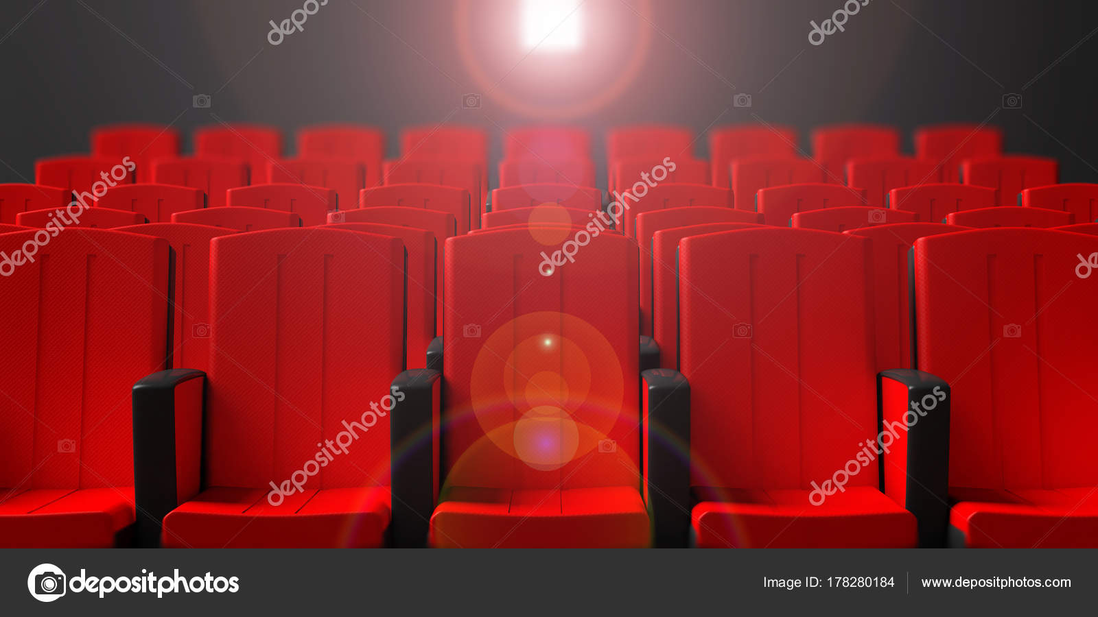 Picture of: Cinema Chairs On Dark Background With Projection Light Front View 3d Illustration Stock Photo C Gioiak2 178280184