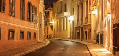 "Картина, постер, плакат, фотообои ""plaka by night, athens, traditional buildings at the sides of a street. architecture in greece."", артикул 179196674"