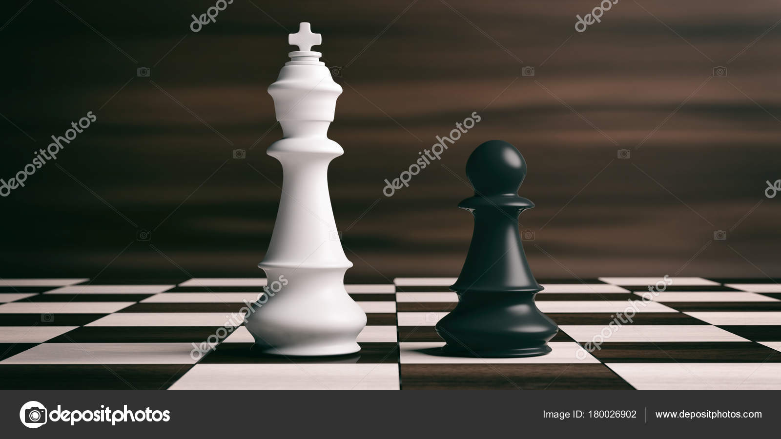White Chess King And Black Pawn On A Chessboard 3d Illustration