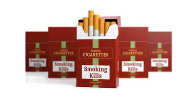Brand name cigarette pack, blur packs and white background. Smoking kills label. 3d illustration