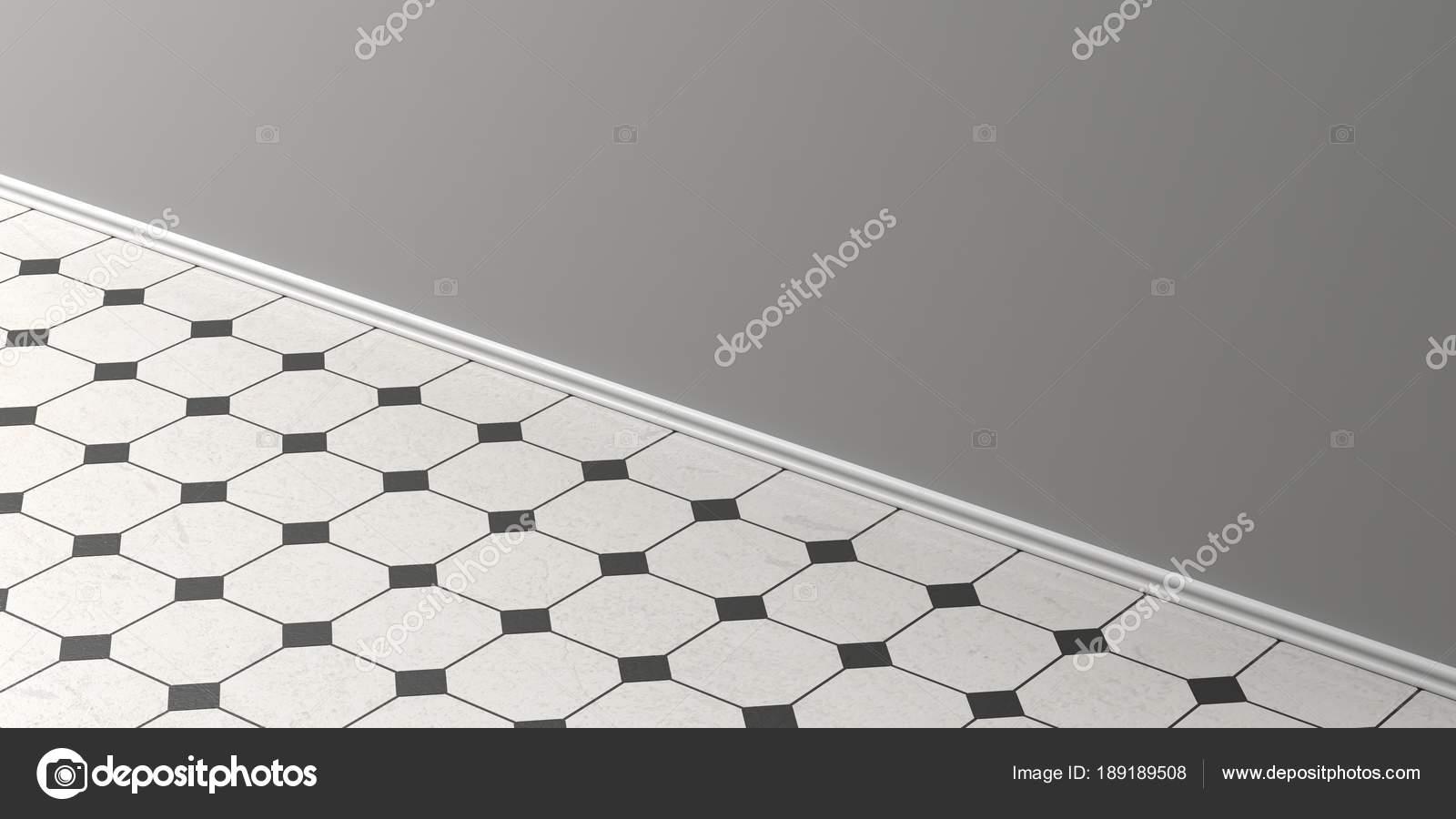 Pavimento di piastrelle di ceramica bianca e nera dell annata