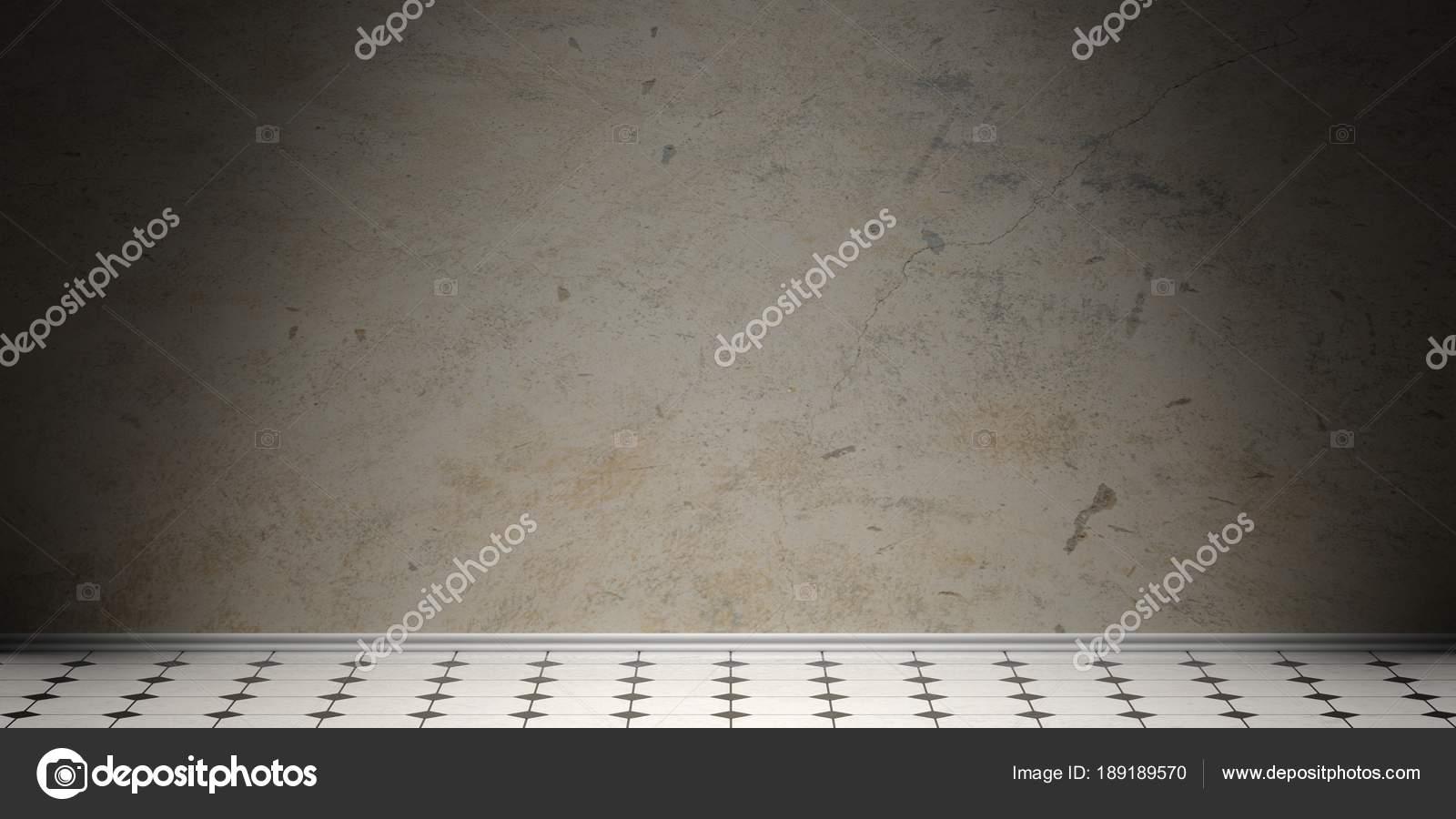 Ceramica bianca e nera retrò piastrelle pavimento vecchio muro di