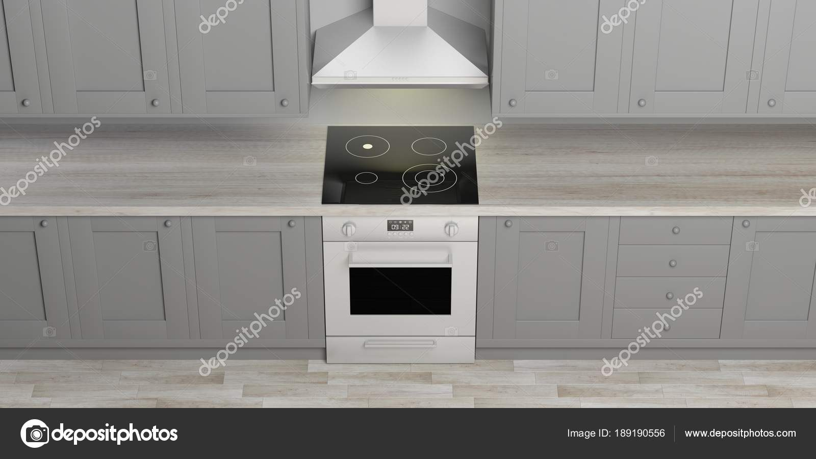 Mobili Da Cucina E Forno Elettrico Con Piano Cottura In Vetroceramica,  Pavimento In Legno,