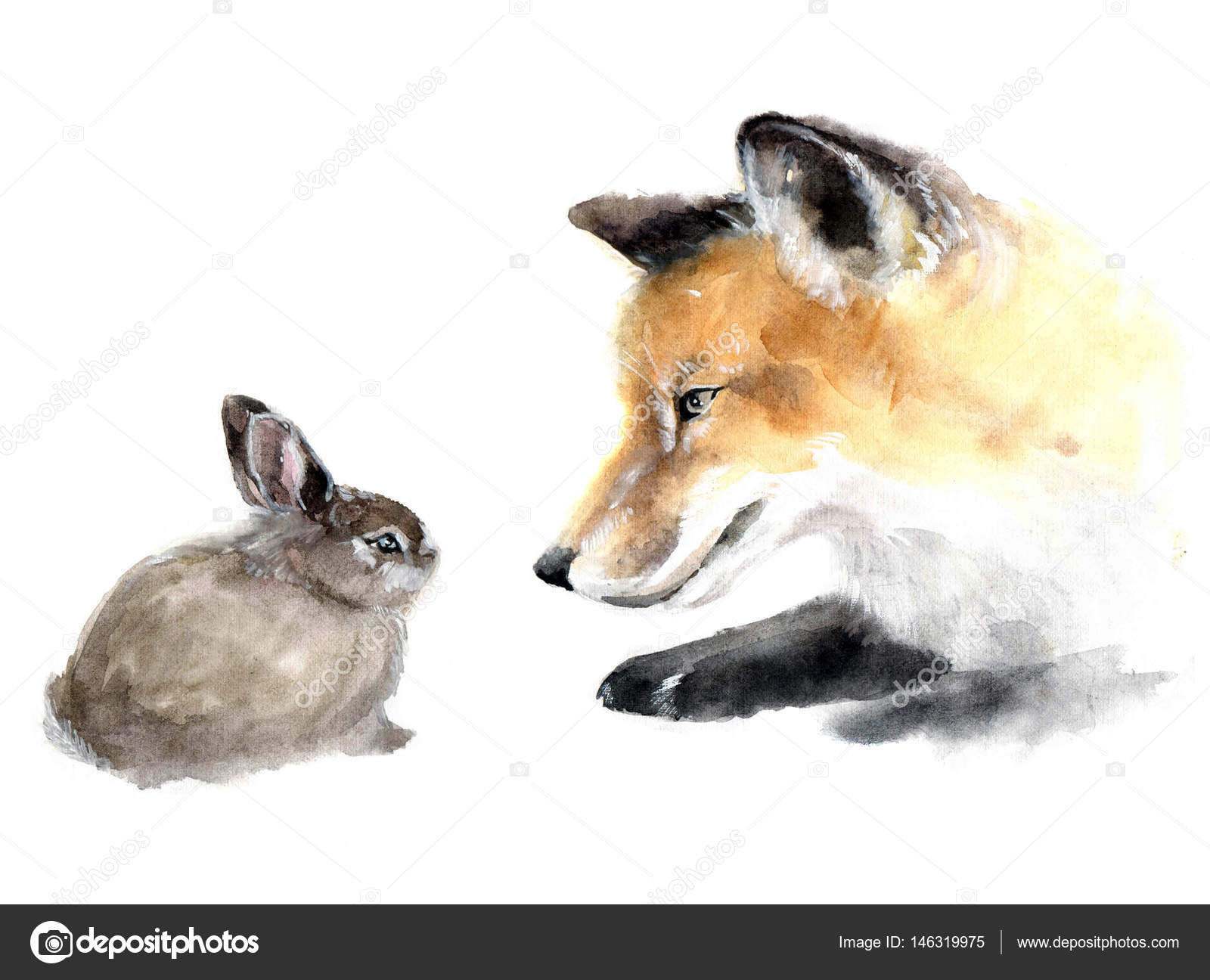 very nice cute watercolor fox with rabbit. animal silhouette