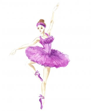 watercolor girl ballerina