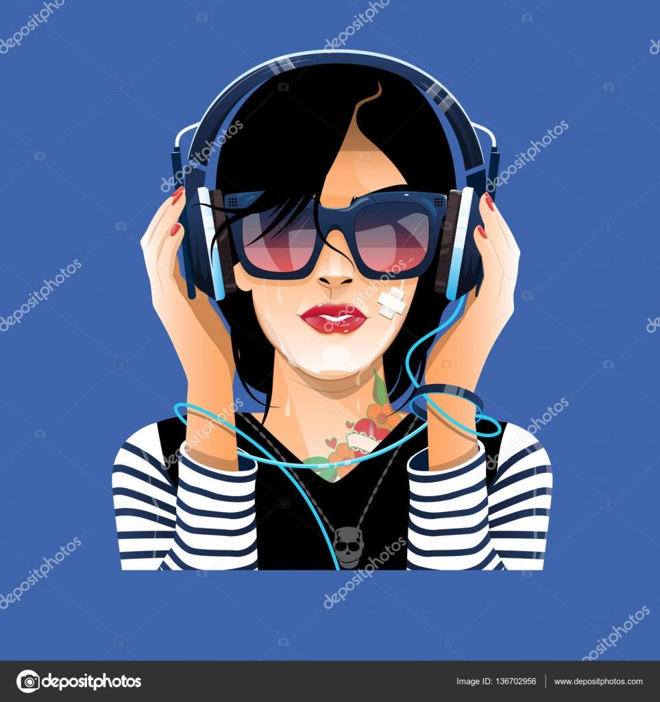 Hölgy a szemüveg-val fülhallgató zenét hallgatni– stock illusztrációk 007b14abfc