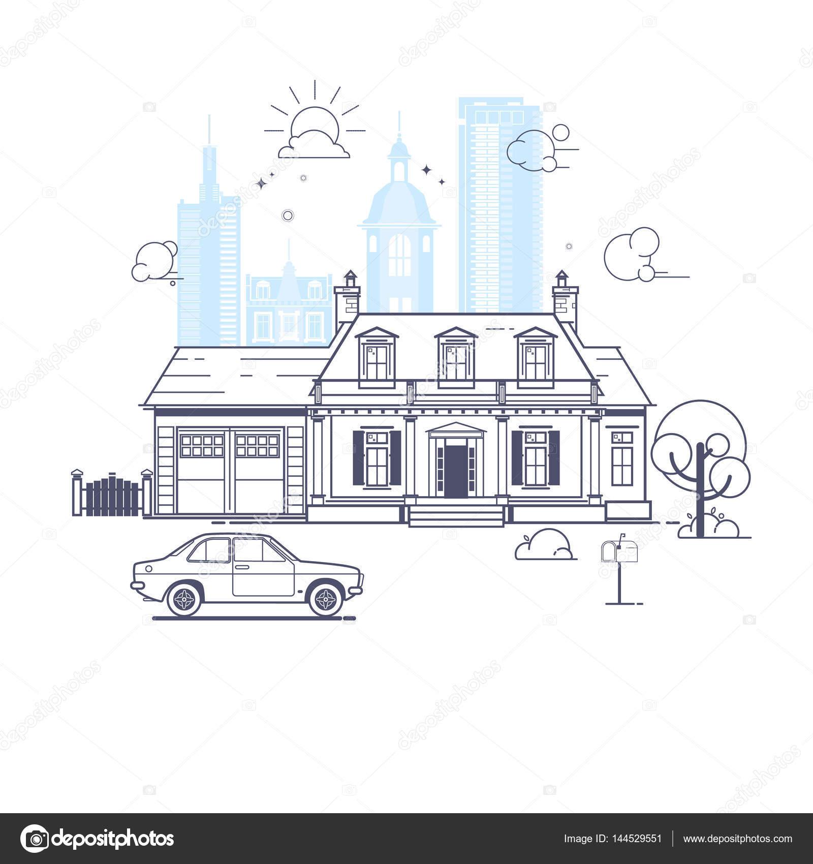 Traditionelles Und Modernes Haus. Haus Der Familie. Flaches Design Konzept  Vektorgrafik U2014 Stockvektor