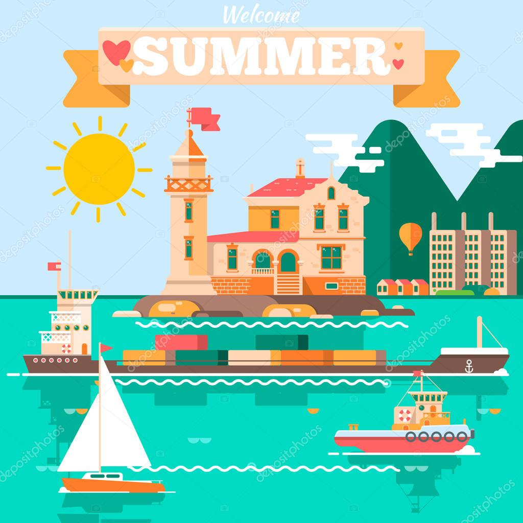 Flat design vector nature landscape illustration with lighthouse tugboats sailing boat, air balloon. Summer vacation, perfect holidays concept