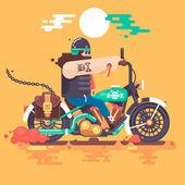 Motorkářská jízda s racer helma na motocykl plochý vektorové ilustrace