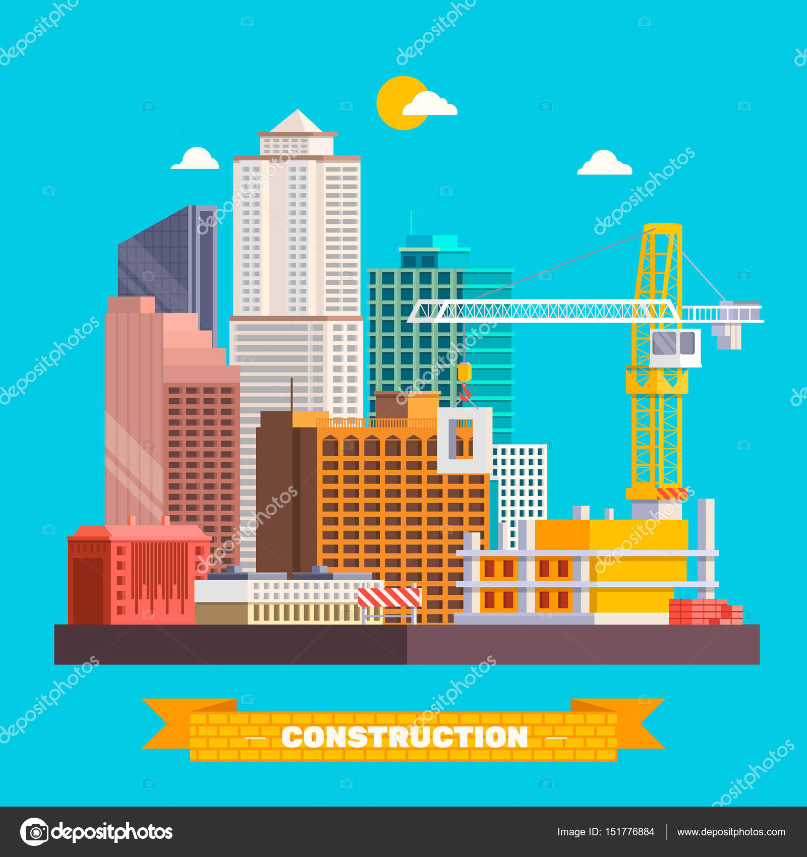 Building Work Process Houses Construction Machines Stock Vector ...