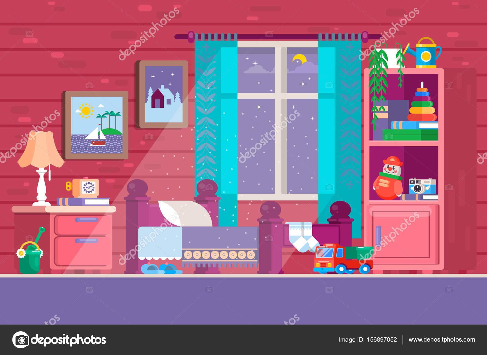 Algunos dormitorios de ni os ilustraci n de un dormitorio for Dormitorio animado
