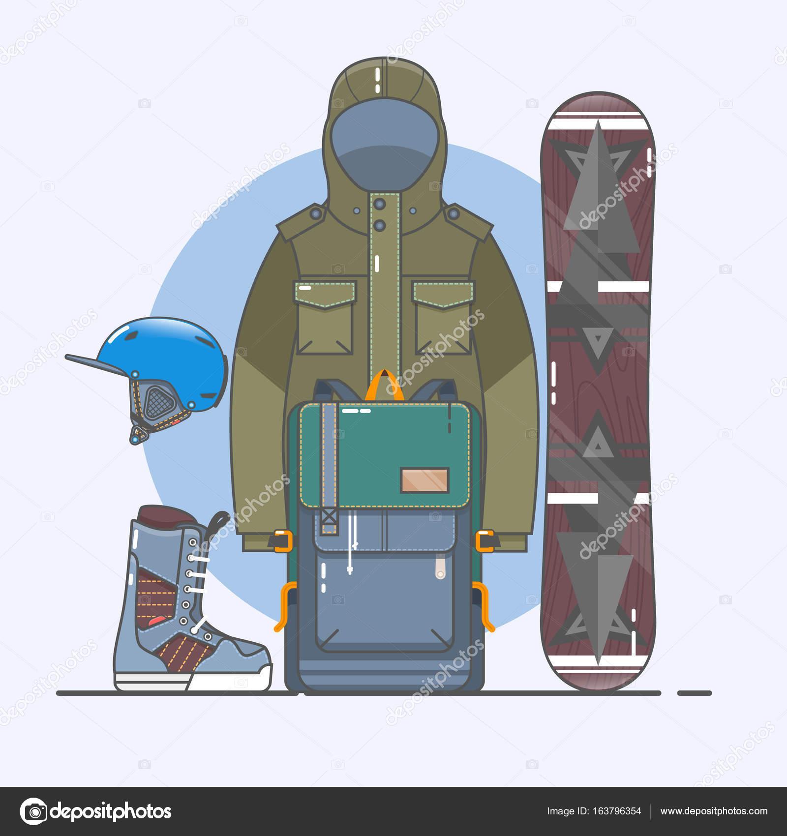 108524336 Acessórios de snowboard. Conjunto de ícones de esportes de inverno. Coleção  de arte linha de estoque vector clipart– ilustração de bancos de imagens
