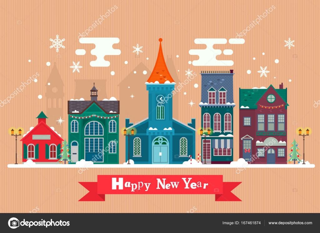 Greeting cards design for celebration Christmas.Urban winter ...