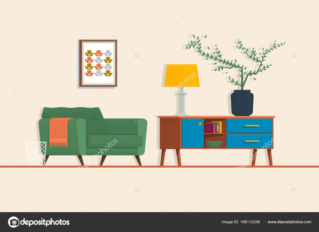 Armchair, couch, lamp. Isolated vector objects.Living room. Vector ...