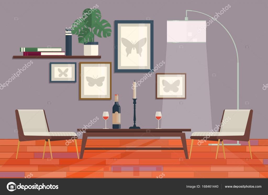 Het interieur van de coole grafische woonkamer met meubilair