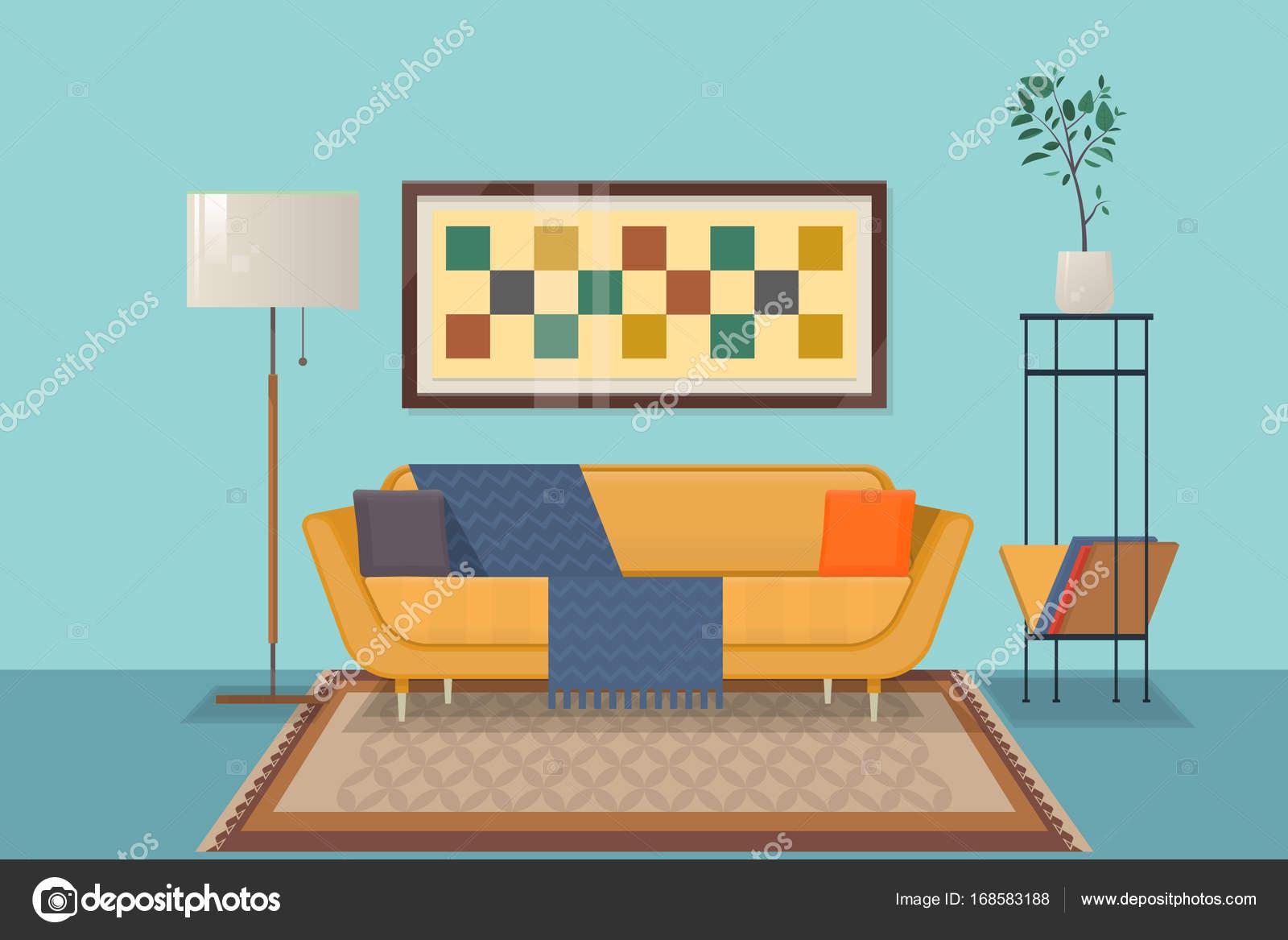 Diseño de interiores de sala de estar con muebles de ouch, almohadas ...