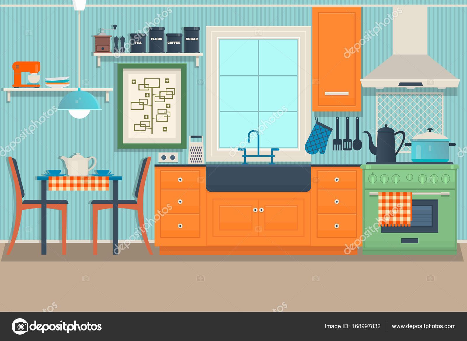 Flache moderne Küche Interior Design mit Blick auf die Stadt ...