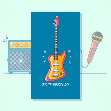 Electric guitar. Music festival.Modern color thin line art design music