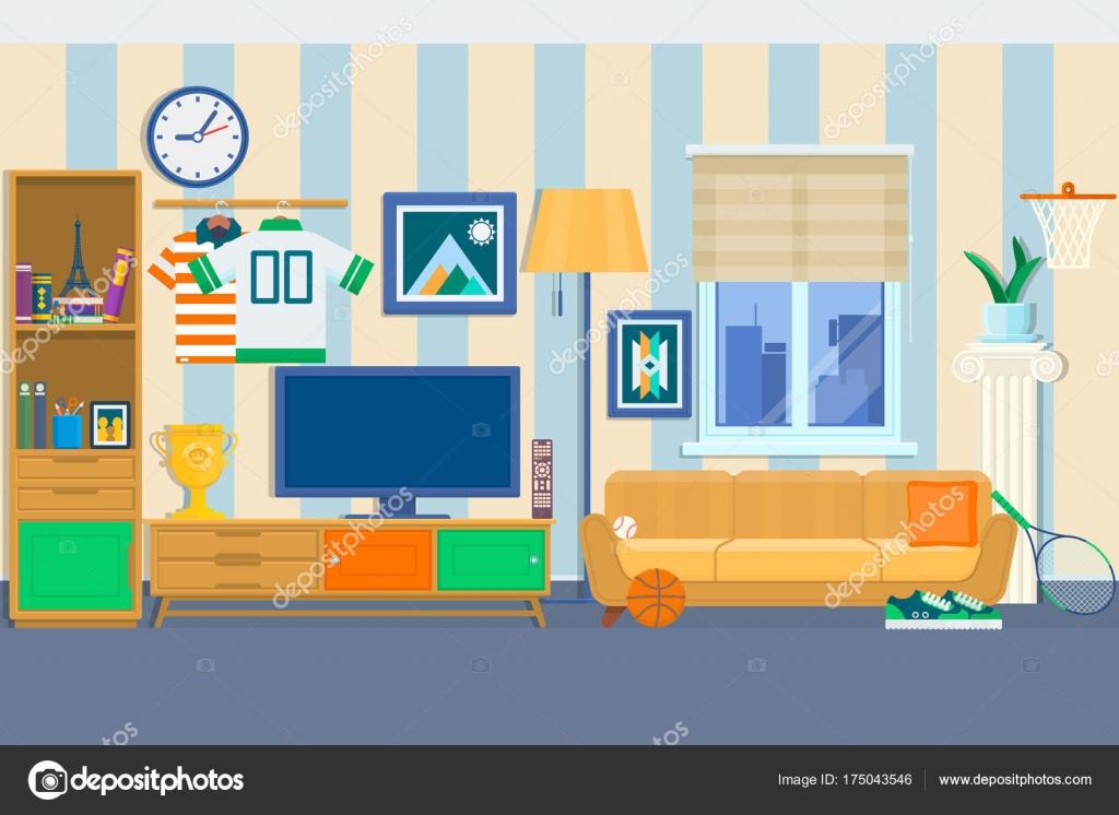 Wohnzimmer Mit Möbeln. Gemütliche Einrichtung Mit Sofa Und Tv. Moderne  Wohnung Design Flache Hauptart