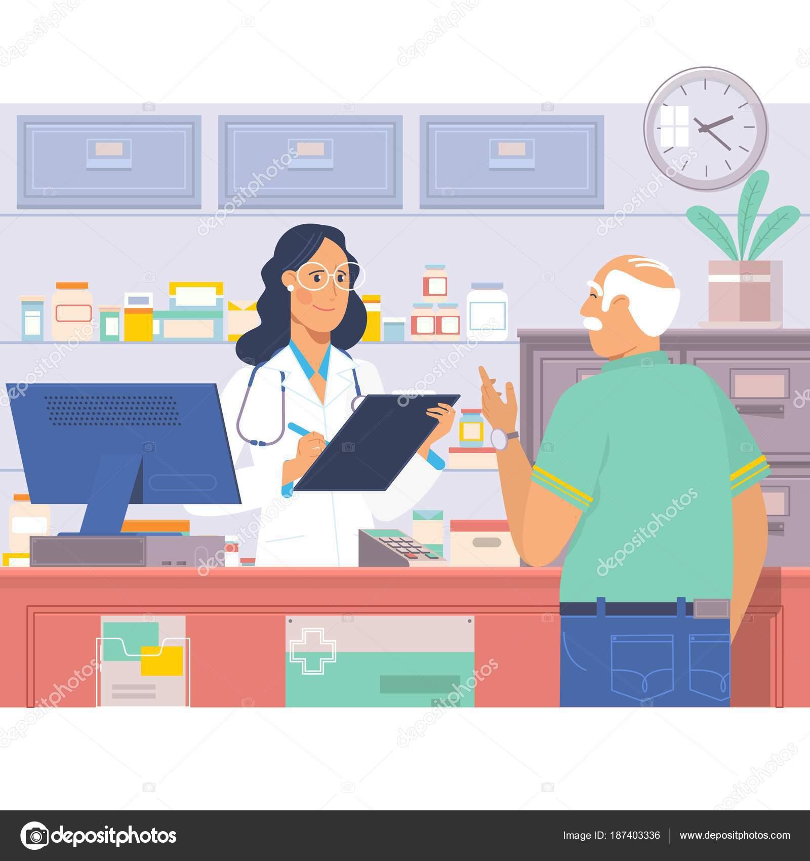 Apotheker am Schalter in der Apotheke. Mann kauft Medikamente in der ...