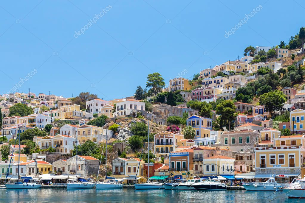 22 JUNE 2017. View of the bay at Symi island, Greece