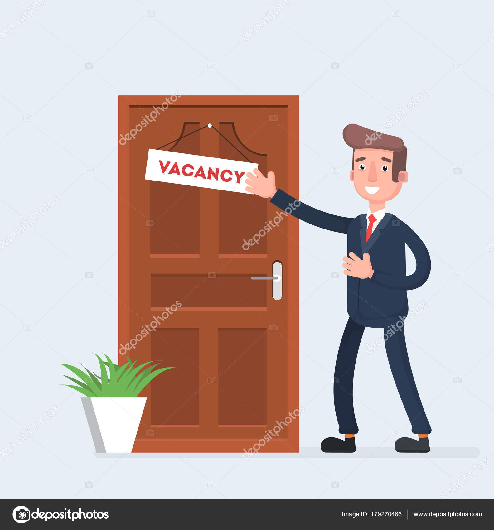 Businessman invites to work the vacancy appeared in the office businessman invites to work the vacancy appeared in the office vector illustration of a flat design vector by alewka73 stopboris Image collections