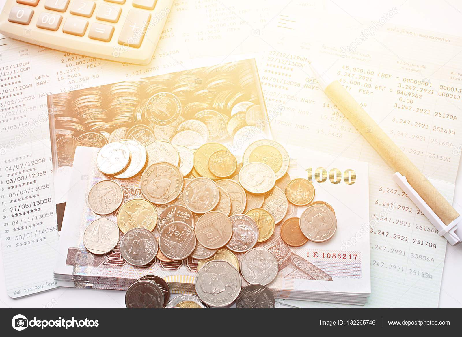 Business, Finance Savings Or Mortgage Background Concept ; Coins, Thai  Money, Pen, Calculator And Savings Account Passbook On White Background U2014  Photo By ...