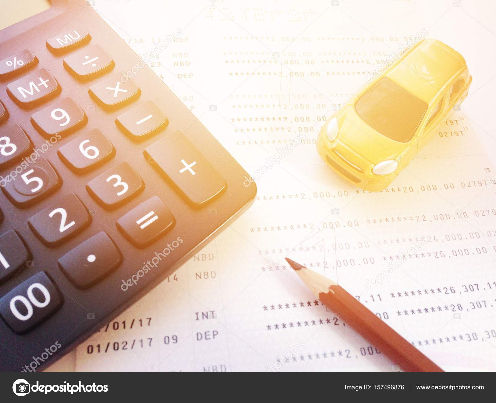 Business, Finance, Savings, Banking Or Car Loan Concept : Miniature Car  Model, Pencil, Calculator And Savings Account Passbook Or Financial  Statement On ...