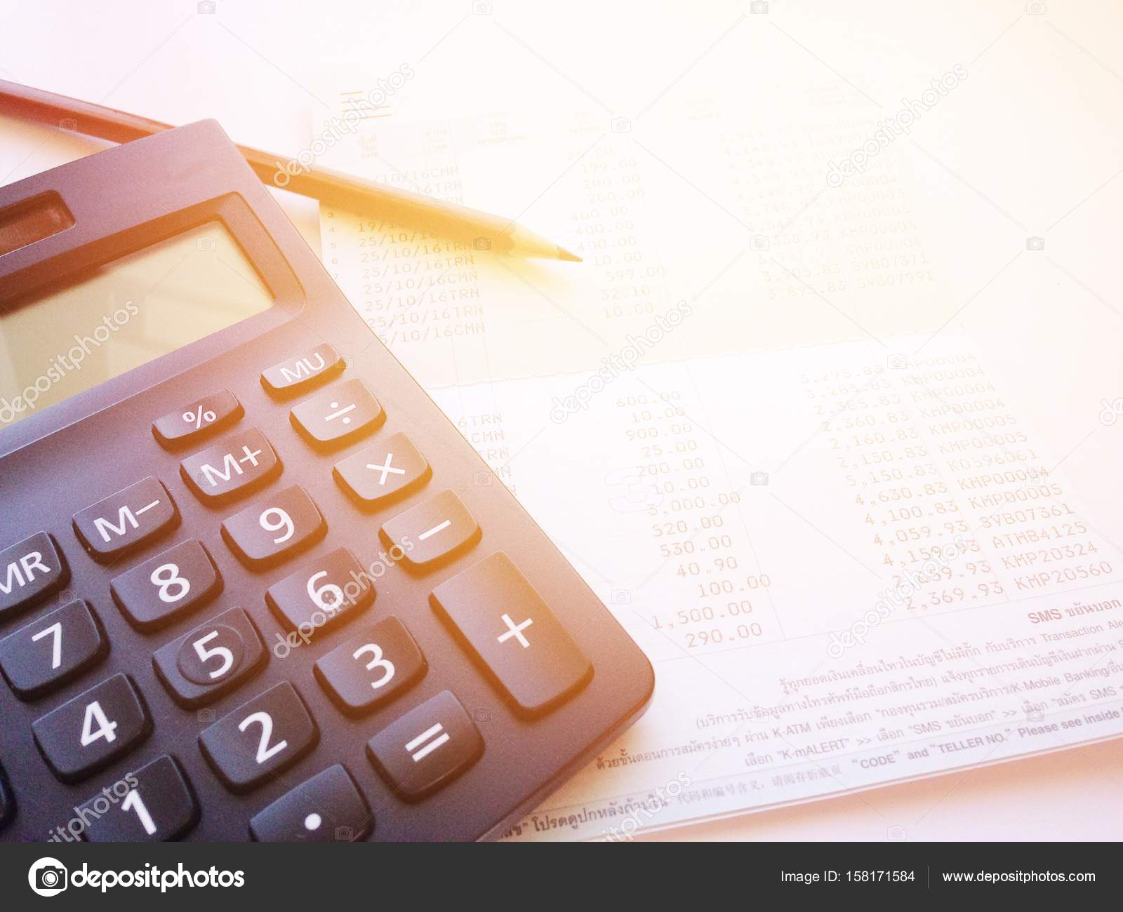 Business, Finance, Savings, Banking Or Loan Concept : Pencil, Calculator  And Savings Account Passbook Or Financial Statement On White Background U2014  Photo By ...