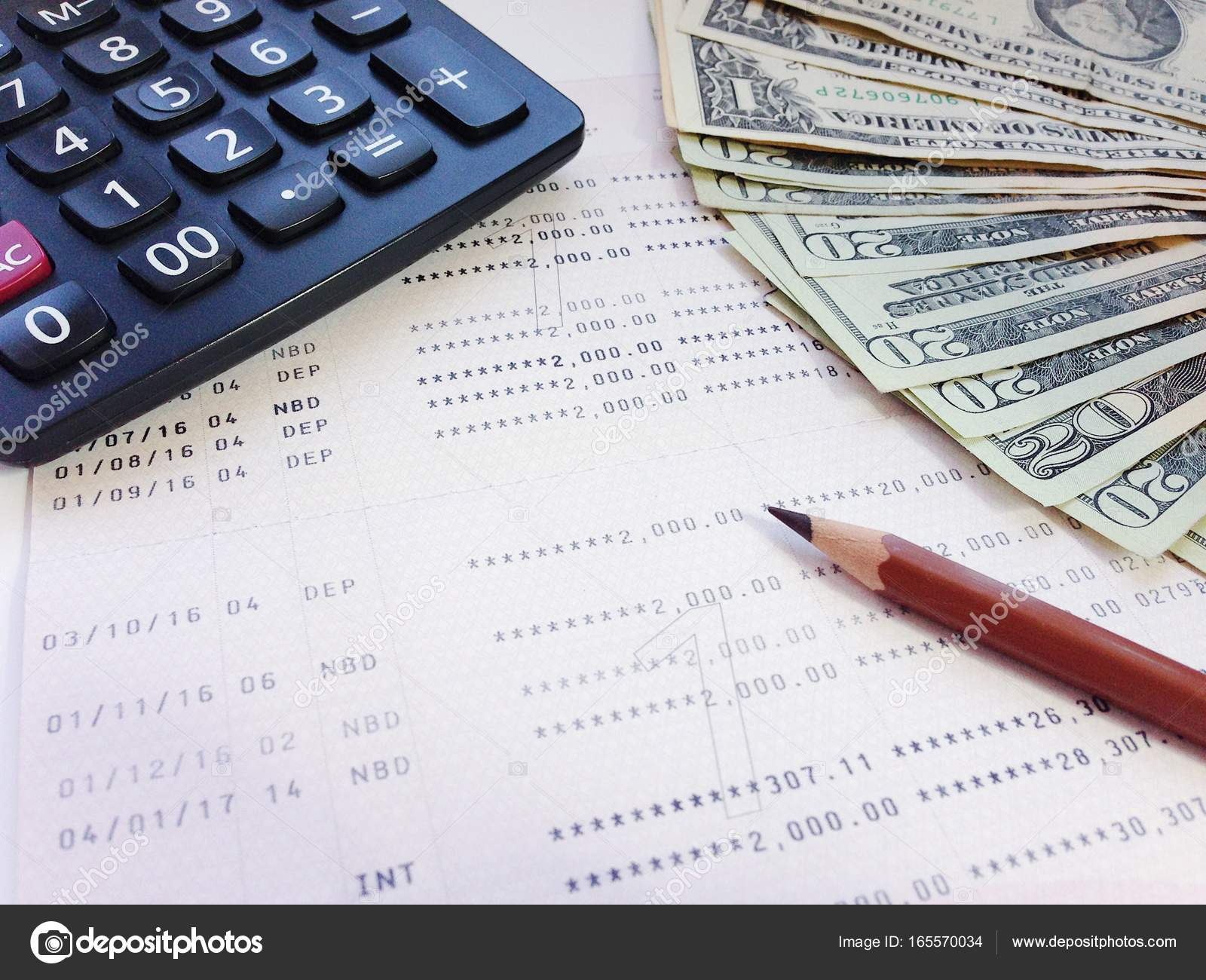 Business, Finance Or Accounting Concept : Dollar Money, Calculator And Saving  Account Book Or Financial Statement On Office Table U2014 Photo By Sureeporn