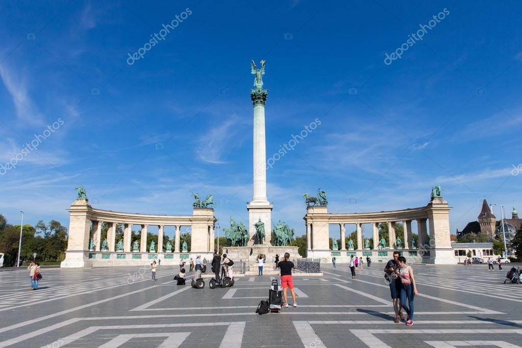 Heroes Square in Budapest. Day View. One of the major squares in Budapest, Hungary.
