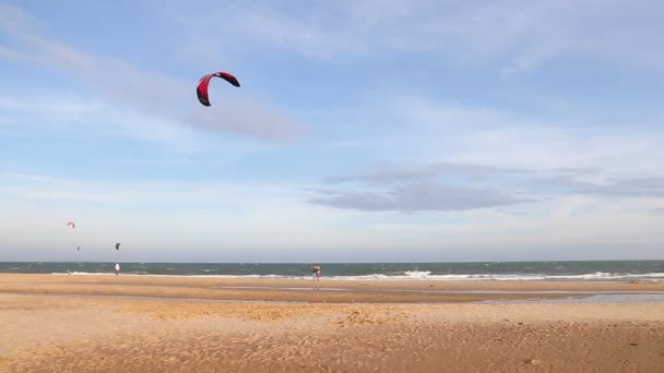 The instructor teaches the beginner to ride a kite surf.