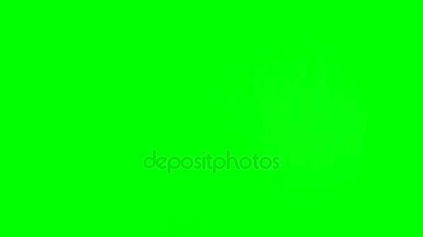 alle Gesten mit einem Finger. Satz von 11 Gesten mit einem Finger. auf grünem Bildschirm.