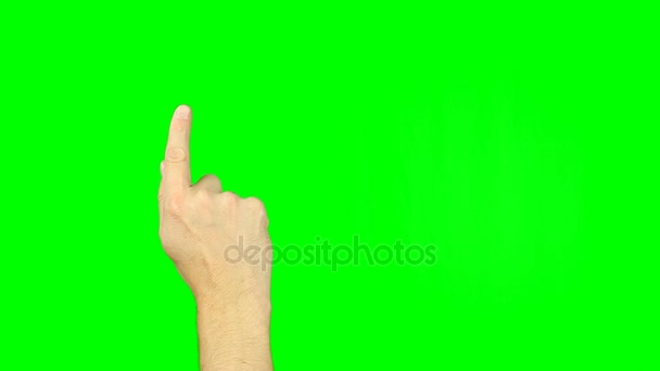 Drawing smile sign with finger gestures on green screen.