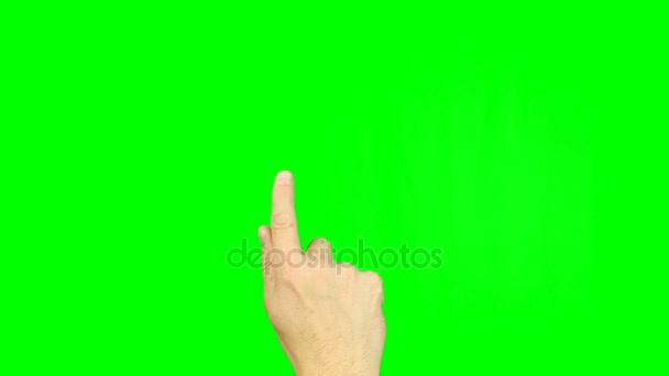 Hand des Mannes schnell wählen von Telefonnummern auf virtuelle Smartphone bei greenscreen