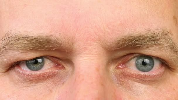 Adult man blinking his eyes. Extreme close-up view. Human eyes fast open up and shut down.