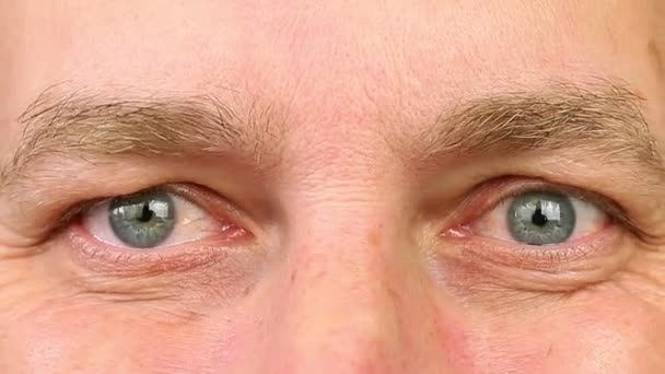 Adult man laughing with eyes. Extreme close-up view. Wrinkles around the eyes from laughing.