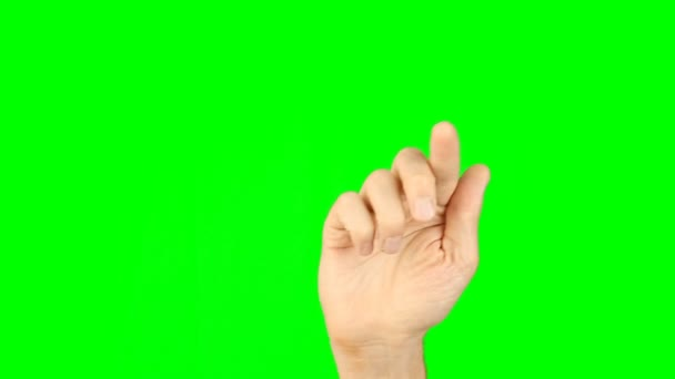 Gesta s 1 přední prsty zobrazit zelené pozadí. Diagonální čáry nakreslete a kruh