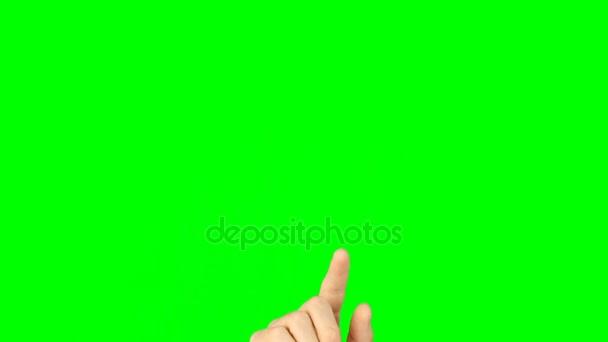 Všechna gesta s 1 přední prsty zobrazit zelené pozadí. Multi touch gest rukou na zelené obrazovce