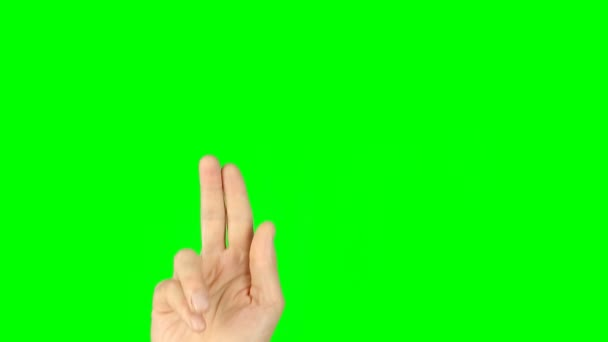 Slide rotate pinch zoom finger gestures. Front view hand on green screen.