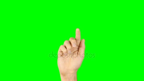 Mužských rukou vytočit číslo na virtuální obří smartphone. Zelené pozadí