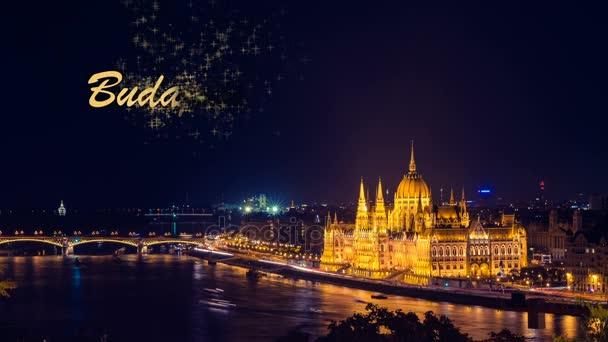 Grafická karta Budapest City. Noční pohled zlaté hvězdy světle tmavě modrá obloha