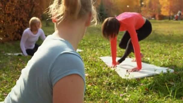 Sportos női tréningek csoportja edzés közben a parkban