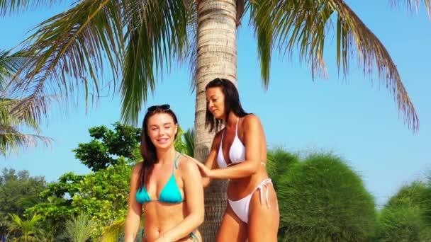 Két fiatal barátnő bikiniben ül a homokos tengerparton a pálmafa alatt és napozik. Egy lány naptejszínt kent a barátnőjére. Gyönyörű nők pihennek trópusi üdülőhelyen